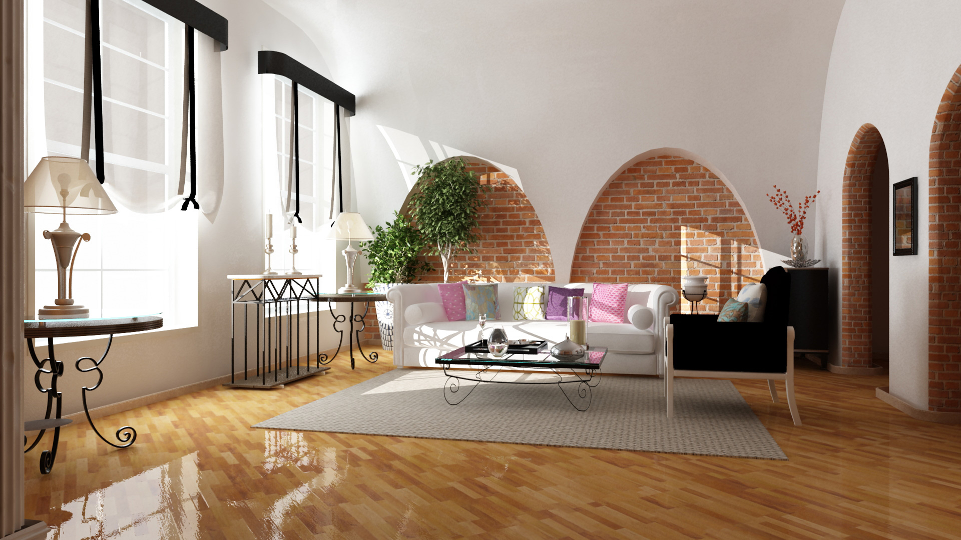 Living Room Design And Rendering 15 Luglio 2012